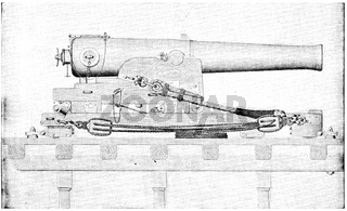 Naval cannon. Illustration of the 19th century. Germany. White background.