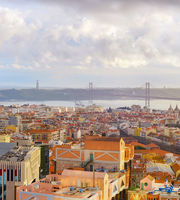 Aerial view bridge Lisbon Portugal