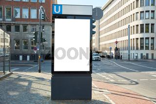 City Light Poster (CLP) Mock-Up an U-Bahn Station in Stadt