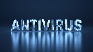 Antivirus text lettering about Coronavirus COVID-19. Made by blue glass over reflected background. Medicine concept isolated on black background 3d illustration