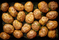 Oven baked whole potatoes with seasoning and herbs in metalic tray. Roasted potatoes in jackets.