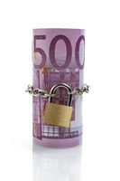 Locked money roll of Euro banknotes, 500 Euro on top, front view, isolated on white background. Saving, insurance, wealth concept