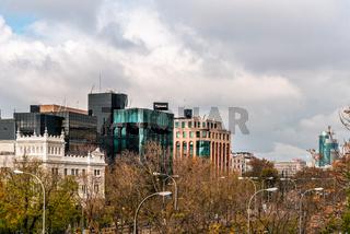 Cityscape of Castellana Avenue in Madrid, Spain