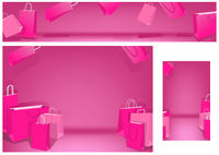 Pink Shopping Bags Set on White Background