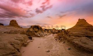 Sunset in sandy desert