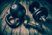 heavy iron kettlebell - fitness concept, pinhole image