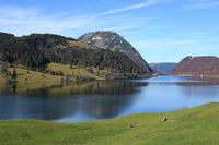Lake Wagital and mountain named Gross Aubrig in autumn.