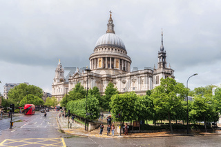 London, United Kingdom - May 11, 2019: Scenic view of Saint Paul's Cathedral, London England.