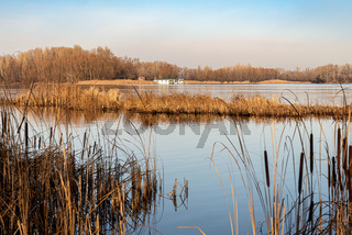 View of the Dnieper river in Kiev, Ukraine, in winter