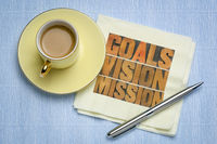 goals, vision, mission concept on napkin with coffee