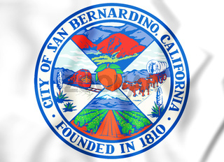 3D Seal of San Bernardino (California), USA. 3D Illustration.