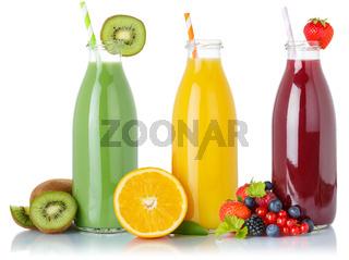 Fruit juice green smoothie smoothies fruits orange drink drinks straw bottle isolated on white