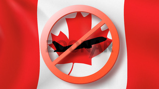 Warning sign with crossed out plane on the background of Canadian flag.