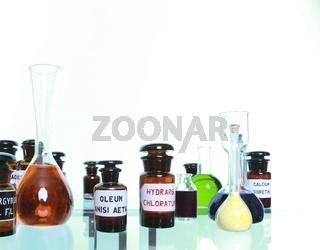 Various medicine glass bottles as pharmacy equipment