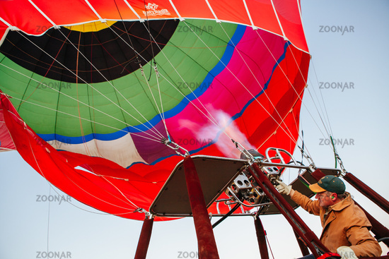 Hot Air Balloon Inflating in Australia