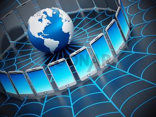 Global computer network with a spider web