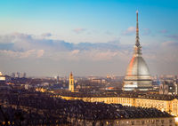 Turin, Italy. Panorama from Monte dei Cappuccini (Cappuccini's Hill) at sunset with Alps mountains and Mole Antonelliana