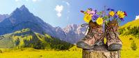 Wanderstiefel mit Blumen vor schöner Landschaft in Bayern
