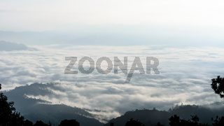 Landscape of cloud above cordillera in the morning
