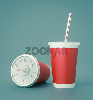 Red Fast Food Drinking Cups with Straw on Blue Background 3D Illustration
