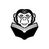 Chimpanzee Chimp Monkey Primate or Ape Wearing Glasses Reading Book Mascot Black and White