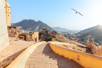 Stairs of Amber Fort and Amer view, India, Jaipur