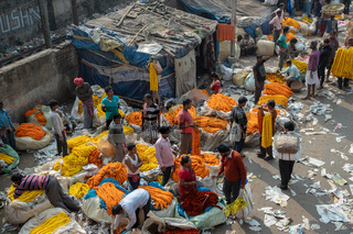Traditional flower market in Kolkata.Everyday hundreds of retailer or consumer comes this place and buy flowers from these wholesale market.