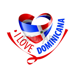 National flag of the Dominicana in the shape of a heart and the inscription I love Dominicana. Vector illustration