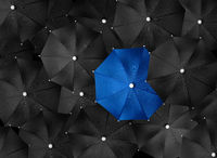 Concept image with lots of black umbrellas and a blue umbrella that stands out