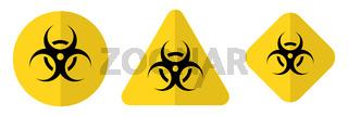 Biohazard or biological threat alert icon. Warning sign of virus. Danger Coronavirus Bio hazard symbol. Vector illustration EPS10.