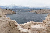 Island of Pag old desert ruins and bridge panorama view, Dalmatia, Croatia
