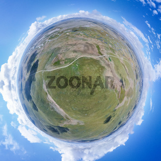 spherical panorama of water sources conservation region in qinghai