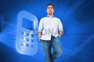 Composite image of unsmiling casual man standing