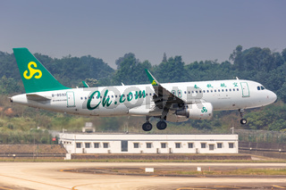 Spring Airlines Airbus A320 Flugzeug Flughafen Chengdu