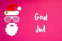 Santa Claus Paper Mask, Pink Background, God Jul Means Merry Christmas