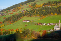 Autumn morning Santa Magdalena famous Italy Dolomites mountain village environs view