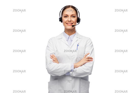 smiling female doctor with headset