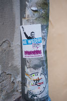 Heidelberg, Deutschland, Politischer Aufkleber gegen AfD Partei und Bjoern Hoecke