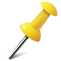 Realistic push pin in yellow color. Thumbtack