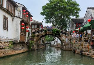 Suzhou, China - May 21, 2018: Boat cruise on the canal city of Suzhou
