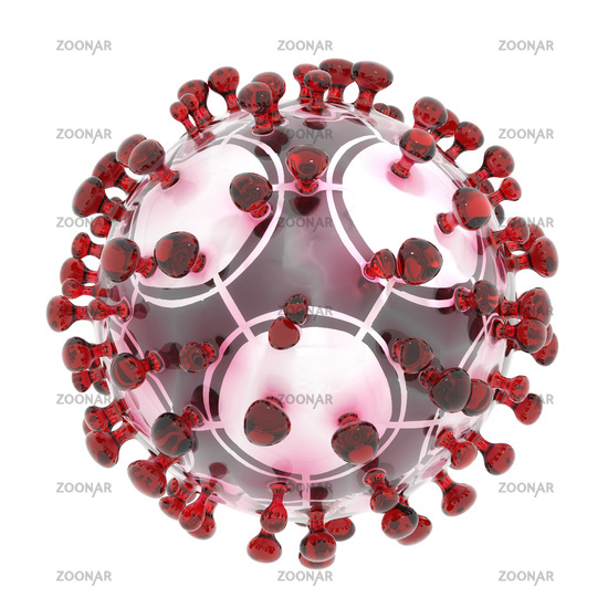 Symbolic 3D illustration of the coronavirus sars-cov-2 and a soccer ball