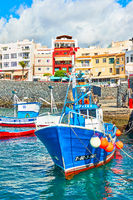 Harbor with fishing boats in Los Abrigos in Tenerife