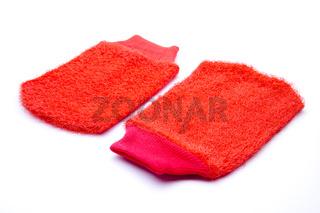 Rote Massagehandschuh