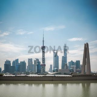 shanghai pudong skyline in daytime