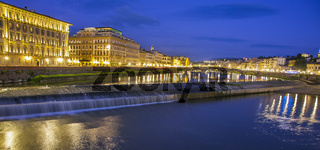 Evening mood in Florence Tuscany Italy View over the Arno to the old town