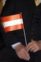 man holding the austrian flag