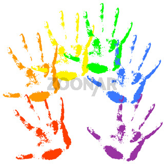 Hand print  rainbow colors, skin texture pattern, vector illustration.