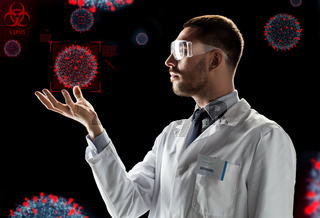 scientist with coronavirus virtual projection