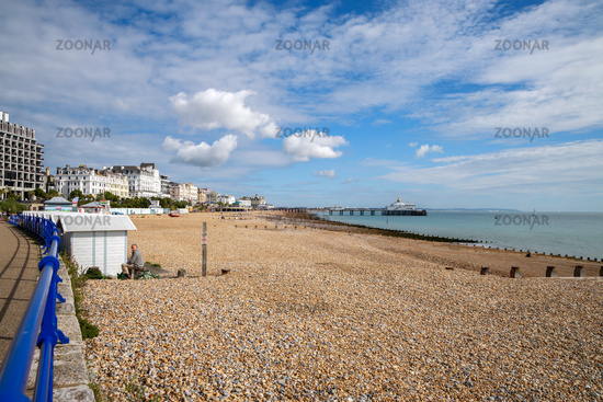 EASTBOURNE, EAST SUSSEX/UK - SEPTEMBER 6 : Distant view of Eastbourne Pier in East Sussex on September 6, 2020. Unidentified people