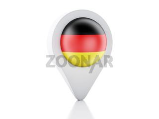 3d Map pointer germany flag icon on white background